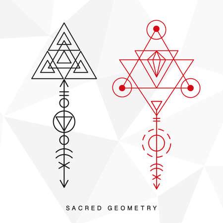 Heilige geometrie tekens instellen Stockfoto