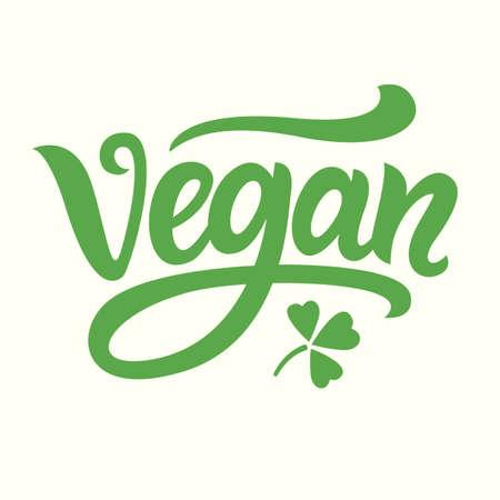 Vegan green hand written lettering Фото со стока - 78789849