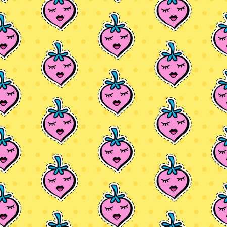 Seamless pattern with fashionable patch set. Hand drawn  strawberry background. Comic romantic stickers, pins, patches, badges  doodle in cartoon pop art 80s-90s style. Vector illustration