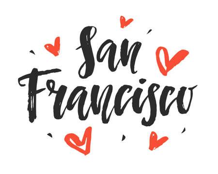 샌프란시스코. 현대 도시 손 브러시 글자를 작성