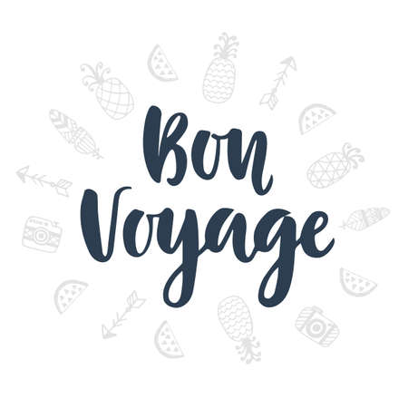 Bon Voyage. 손으로 쓴 글자와 귀여운 두들 스 아이콘