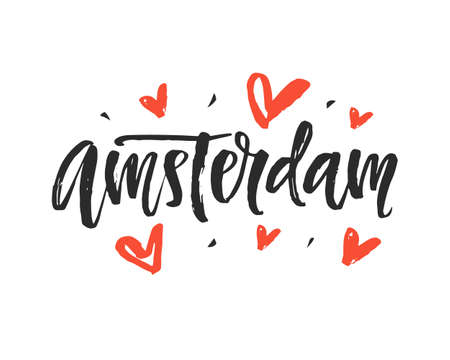 Amsterdam. Modern city hand written brush lettering Illustration
