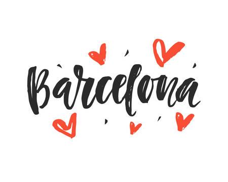 Barcelona. Modern city hand written brush lettering