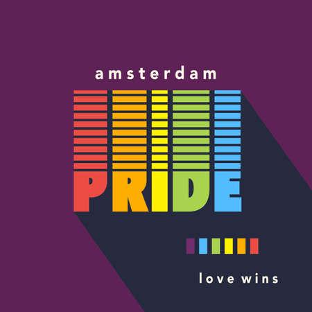 Gay Pride poster rainbow spectrum flag Illustration