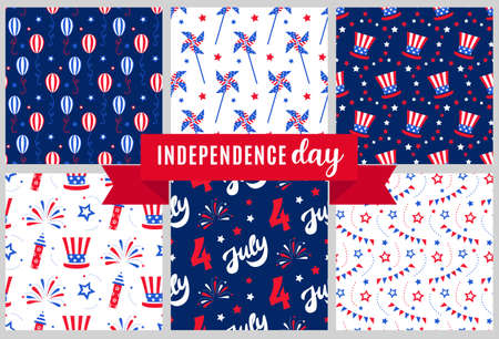 Independence day of America festive seamless pattern backgrounds set.
