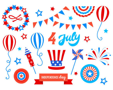 Independence day of America festive doodles set.