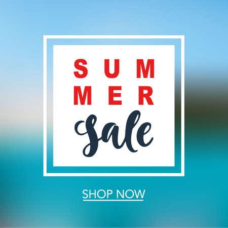 여름 세일 온라인 쇼핑, 모바일에 대 한 모바일 배너 템플릿. 벡터 일러스트 레이션