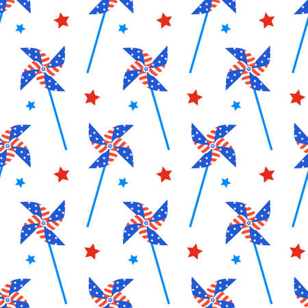 Independence Day of America Festive Seamless Pattern Background Archivio Fotografico - 79990777