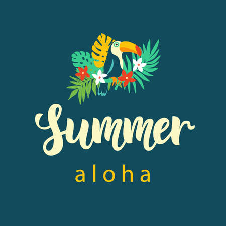 Aloha summer modern poster design with hand written calligraphy. Vector illustration