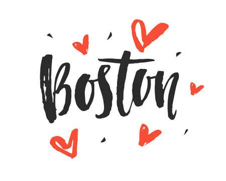 보스턴. 현대 도시 손 브러시 글자를 작성