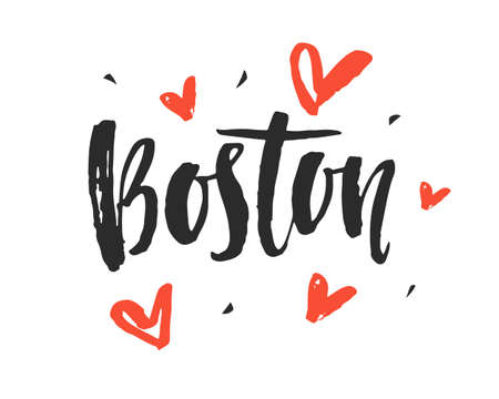 Boston. Modern city hand written brush lettering 向量圖像