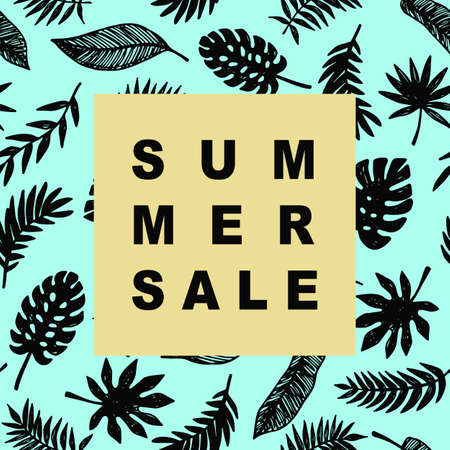 super market: Summer Sale promotional banner template in trendy colors