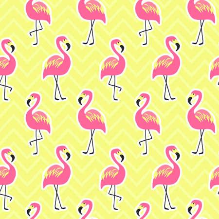 Mooi naadloos patroon met flamingo Stock Illustratie