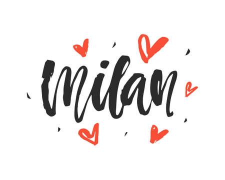 Milan. Modern city hand written brush lettering Stock Illustratie