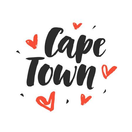 Cape Town. Modern city hand written brush lettering Ilustração