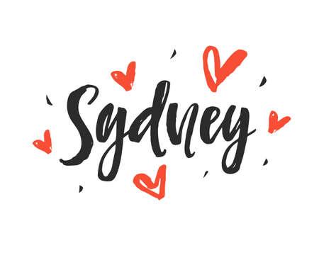 シドニー。近代的な都市手書きレタリング ブラシ  イラスト・ベクター素材
