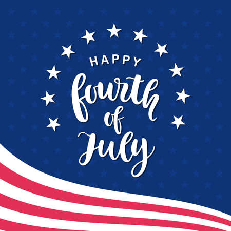 Fourth of July hand written ink lettering