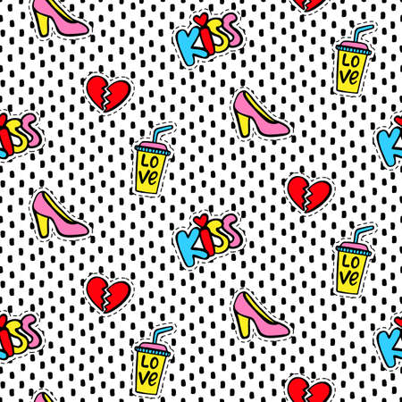 eighties: Seamless pattern with Fashionable patches Illustration