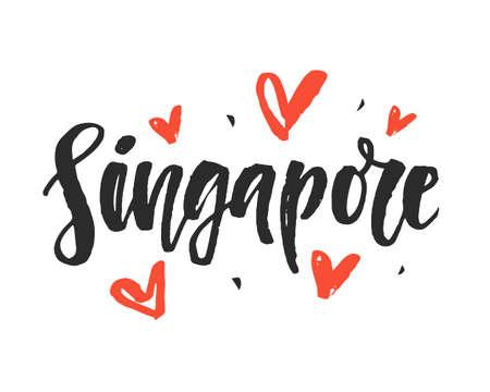 싱가포르. 현대 도시 손 브러시 글자를 작성