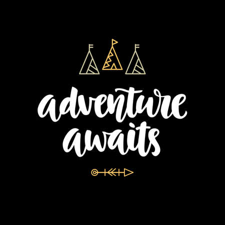 Adventure awaits hipster photo overlay, inspiration quote, Typography design, t-shirt print, Motivational travel phrase, Hand written brush lettering, Vector modern calligraphy