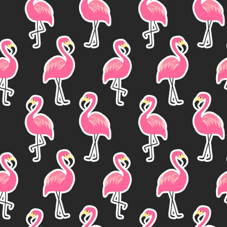Beautiful seamless pattern with flamingo stickers on black background