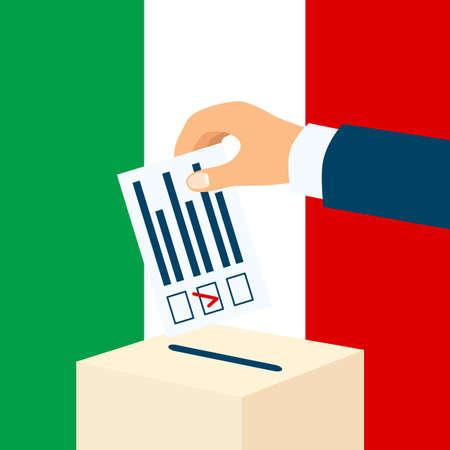 イタリアの選挙。男性の手を背景にイタリア国旗の投票箱に投票用紙を入れて