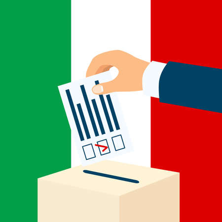 Election in Italy. Male hand putting voting paper in a ballot box with italian flag on a background