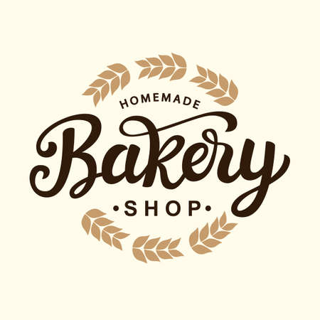 Bakery logo template design. Hand drawn lettering. Vintage calligraphy badge emblem. Vector illustration.
