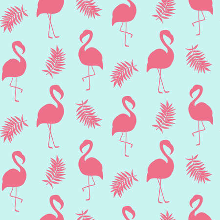 Beautiful seamless pattern with pink flamingo isolated on white Illustration