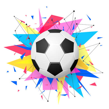 Football emblem template. Soccer ball with colorful geometric triangle shapes, modern abstract paper explosion Ilustracja