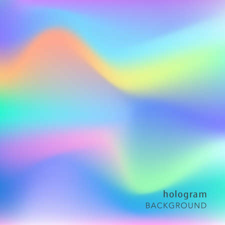 Holographic abstract background. Cosmic surreal texture. Vector illustration in neon colors, 80s 90s trendy style design. Vectores