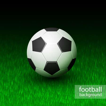 Vector realistic soccer ball on field grass Illustration