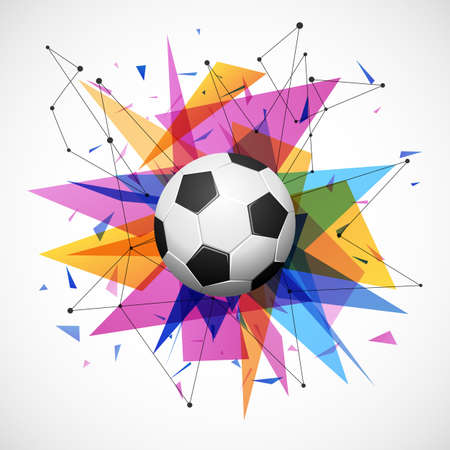 soccer goal: Football emblem template. Soccer ball with colorful geometric triangle shapes, modern abstract paper explosion Illustration