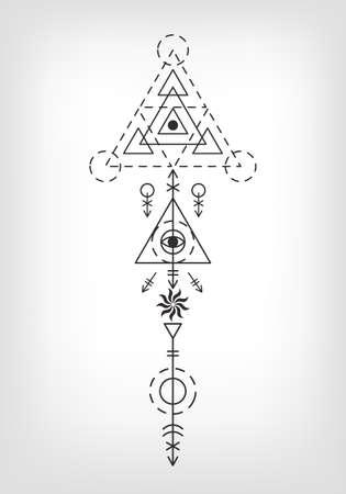 Azteekse tatoeage teken heilige geometrie Stock Illustratie
