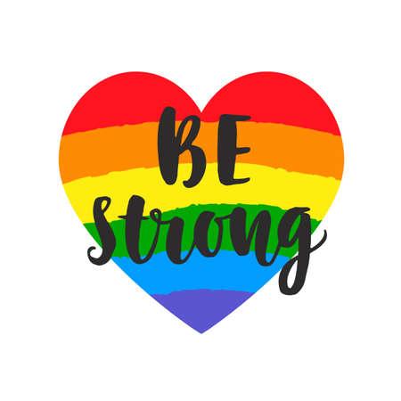 強力なスローガンであります。水彩虹スペクトル フラグは、心に強く訴えるゲイ ・ プライド ポスター レタリング ブラシ