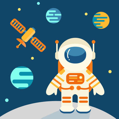 Astronaut on the moon in flat style