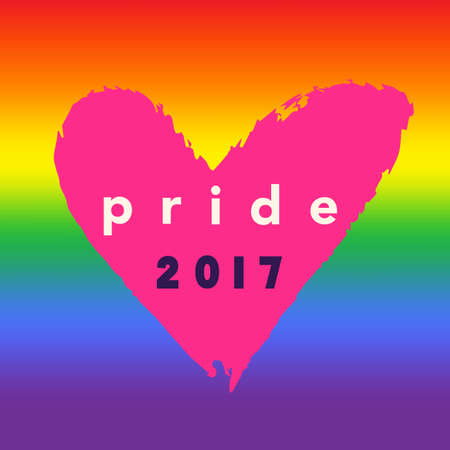 Pride 2017 Inspirational Gay Pride poster with rainbow spectrum flag, heart shape, brush lettering