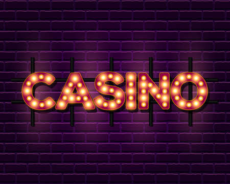 Casino retro banner template with lightbulb glowing