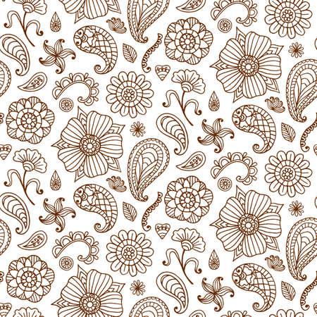 Naadloze patroon met vector henna tattoo doodles set. Indisch Paisley, bloemen Aziatische etnische ontwerpelementen, die op witte achtergrond worden geïsoleerd. Indiase, oosterse stijl. Boho textieldruk