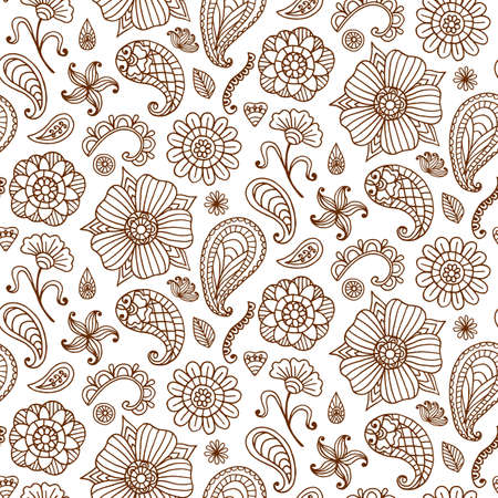 Seamless pattern with vector henna tattoo doodles set. Indian paisley, floral asian ethnic design elements, isolated on white background. Indian, oriental style. Boho textile print Banco de Imagens - 81372367