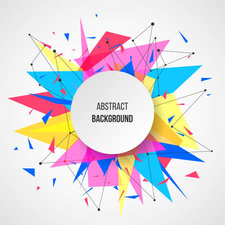 Abstract background template. Paper geometric polygon and triangle shapes explosion 向量圖像