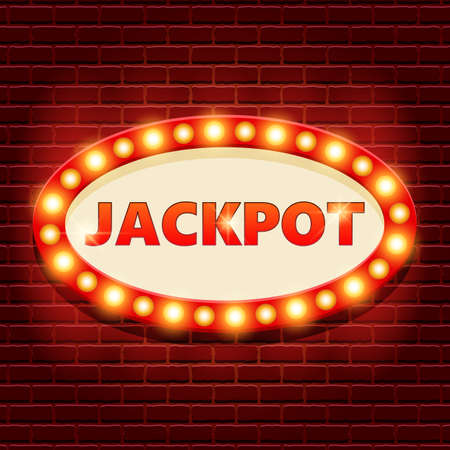 Jackpot retro banner template with lightbulb glowing