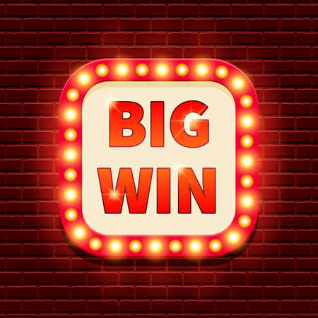 Big Win retro banner template with lightbulb glowing. Casino billboard background. Vintage style. Vector illustration for gambling club, web game, lottery. Business concept Illustration