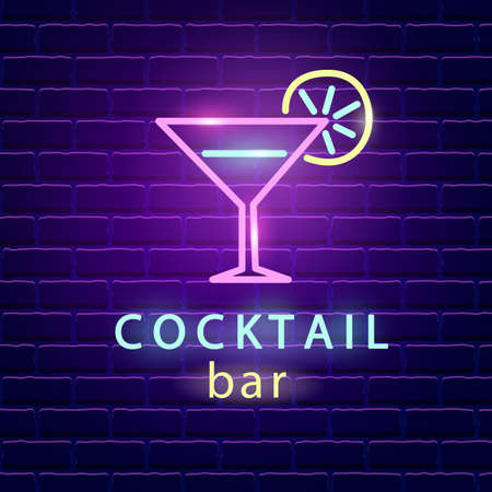 Cocktail bar neon logo. Bright emblem sign on dark brick wall background. Light banner signboard. Electric label design template. Vector design element