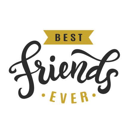 今までの親友。友情日のかわいいポスター  イラスト・ベクター素材