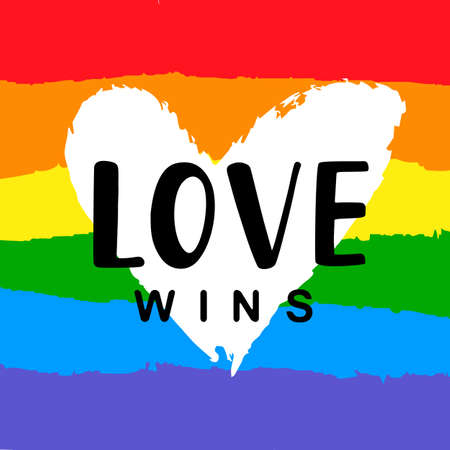 Love wins Inspirational Gay Pride poster Çizim