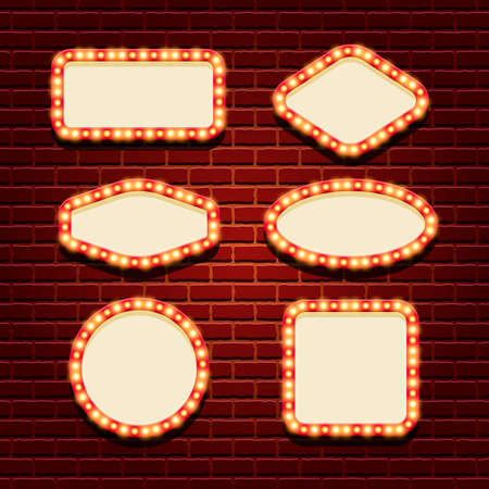 Illuminated retro frames set with shining lights on the contour and space for text