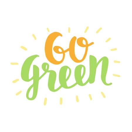 Go Green label, trendy brush lettering