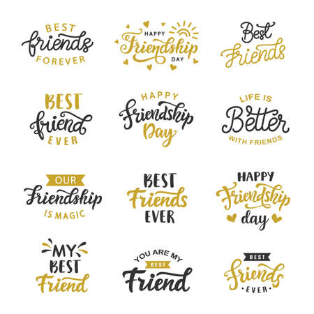 Happy Friendship Day cute hand written lettering big set illustration.