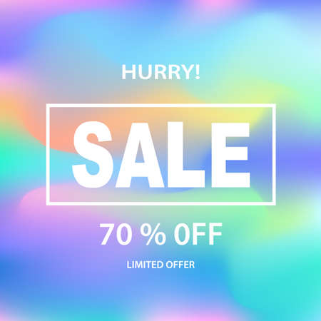 Sale banner template for online shopping, mobile, website design. Social media poster, promotional material, ads, email marketing. Holographic neon background. Vector Illustration